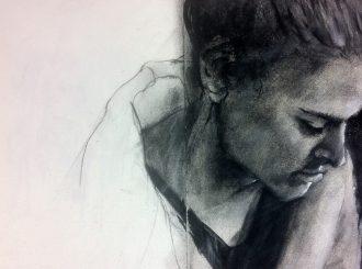 Day 39, Kevin McClelland (Charcoal Sketch 45x30cm)