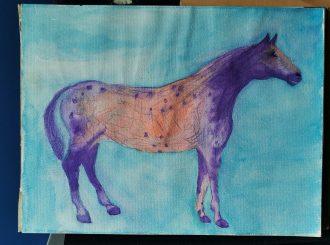Mystical Horse, David Kelly, watercolour on canvas