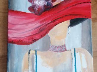 She wore a hat, Caroline Pollock, oil on canvas