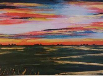Into the Dawn by George Lyons (Acrylic on board, 70x40cm, Framed £269)