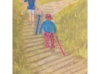 The long trek home from Barleycove, Mareea Loughery, pastels on watercolour.